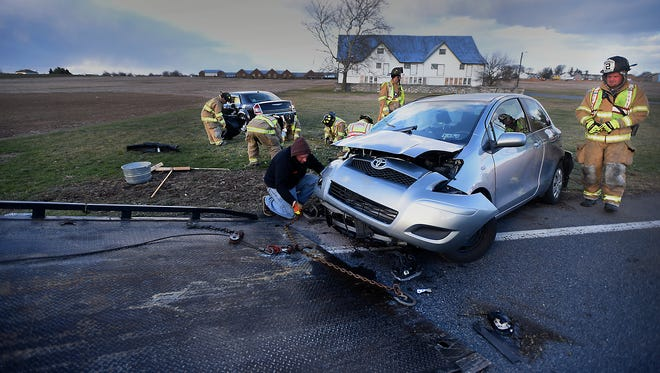 A two-vehicle accident Sunday evening, March 12, sent two people to the hospital.