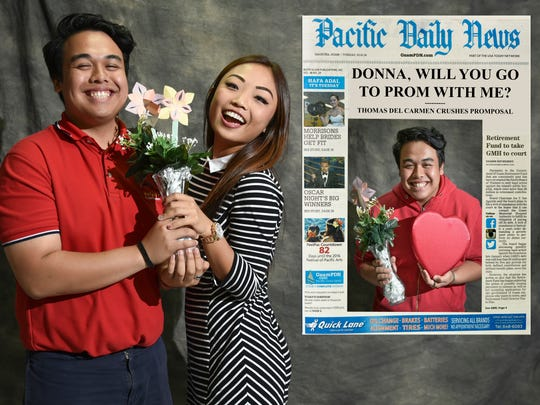 "Thomas Del Carmen, right and left, enjoys an accepting embrace from Donna Zheng after putting some effort and creativity into his Pacific Daily News front-page ""promposal."""