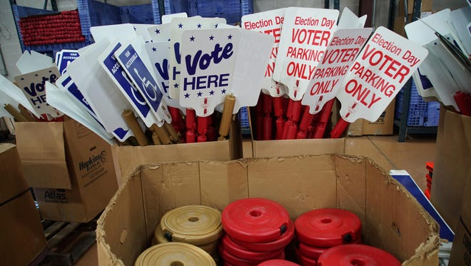 Election signs wait for distribution at the Department of Elections in New Castle on Aug. 31. Democrats from 2004 to 2014 saw just four primary fights for five high-profile statewide offices.