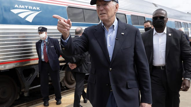 President-elect Joe Biden gestures during a campaign stop at Alliance Amtrak Station Sept. 30, 2020 in Alliance, Ohio.