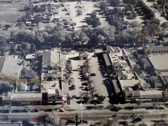 Section 14 is seen at top of this aerial photo from 1947, with La Plaza on the other side of a row of Tamarisk trees.
