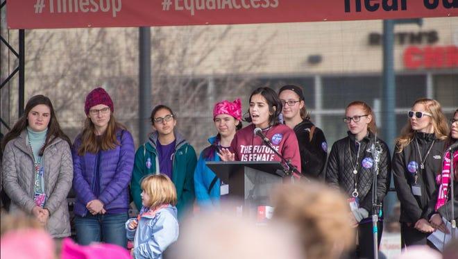 Rasleen Krupp speaks at the second Cincinnati Women's March January 21, 2018.