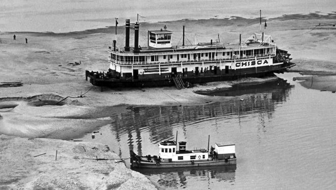 On March 18, 1937, just 36 days after the Mississippi River stood at a record 48.7 feet in Memphis on Feb. 10, the Chisca sat on a sandbar near Tunica, Mississippi. Flood stage on the Memphis gauge is 34 feet. Details as to how the paddlewheeler became stranded are not known.