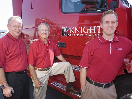 Kevin Knight (left), executive chairman of Knight Transportation,