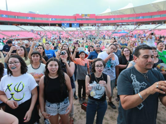 People gathered on the old Cohen Stadium infield to listen to Jenny and the Mexicats during the annual Music Under the Stars in 2017.
