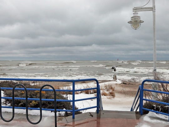 The lakefront faces an angry Lake Michigan Tuesday