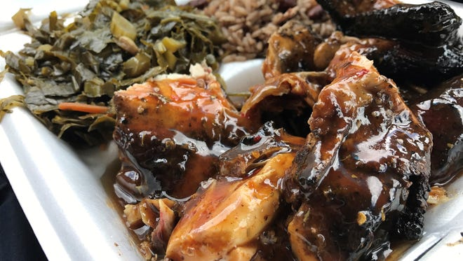 Jerk chicken, collard greens, and rice and peas from Trust Me BBQ in Riverview.
