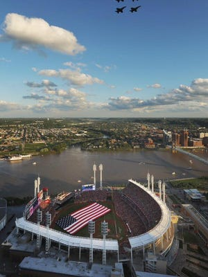 A flyover kicked off the 86th annual All-Star Game held Tuesday at Great American Ball Park in Cincinnati.