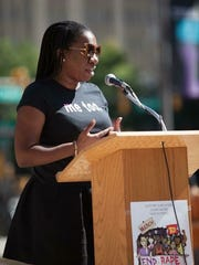 Tarana Burke speaks at the March to End Rape Culture