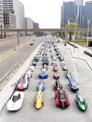 The student car portrait during  Day 2 of last year's Shell Eco-marathon Americas in Detroit,