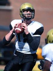 Vanderbilt quarterback Wade Freebeck (12) sets to pass during Monday's practice.