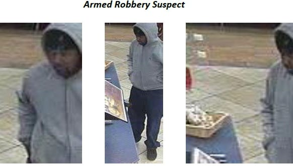 Surveillance images of an armed robbery suspect are shown.