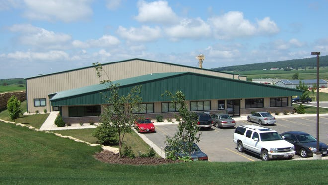 A photograph of Midwestern BioAg's fertilizer blending and distribution facility in Blue Mounds, Wisconsin,