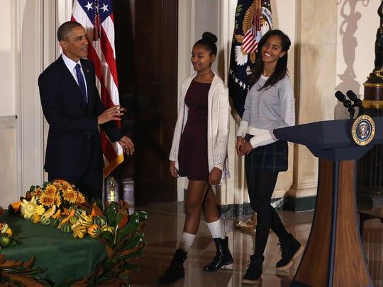 President Obama speaks during the turkey pardoning