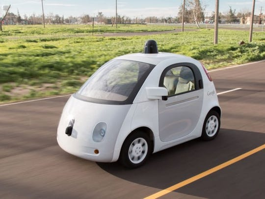 The two founders of tech startup Nuro both worked for years on Google's self driving car technology (now called Waymo). Shown here is Google's two person self-driving prototype car.
