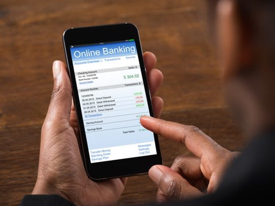 Person using an online banking app