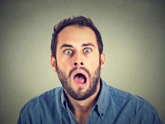 Man with beard, amazed, mouth agape