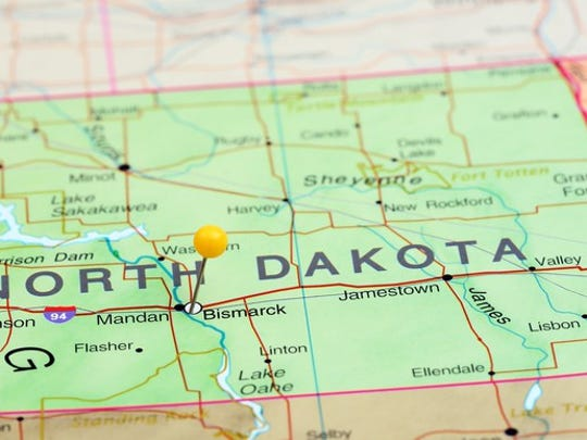 North Dakota on the map