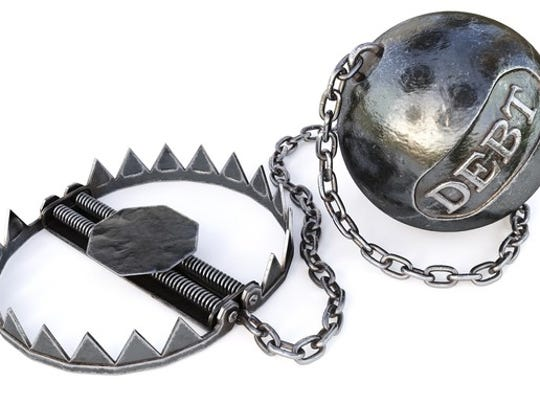 A debt ball with a chain attached to a bear trap.