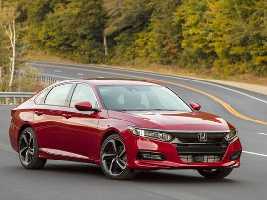 A Red 2018 Honda Accord Midsize Sedan With Hatchback Like Roofline