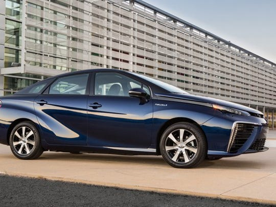The Toyota Mirai hydrogen fuel cell vehicle.