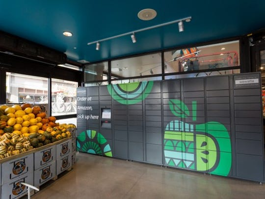 An Amazon locker inside of a Whole Foods.