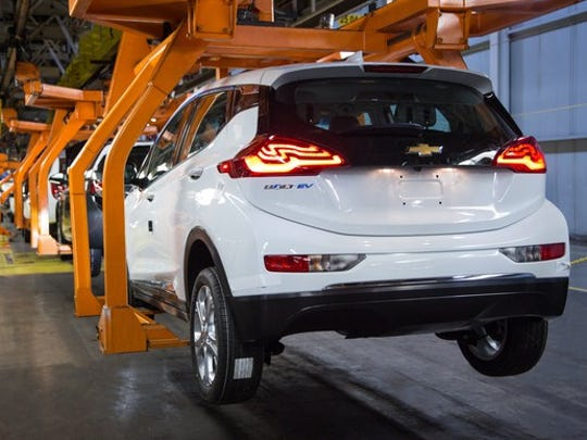 Chevrolet Bolt EVs move down the assembly line at GM's Orion Assembly Plant in Orion Township, Michigan.