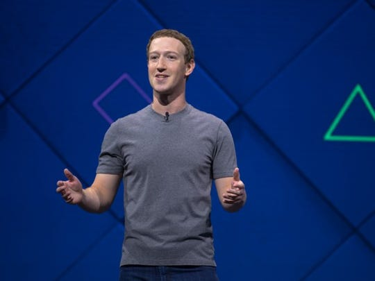 Facebook CEO Mark Zuckerberg on stage speaking at the company's F8 conference.