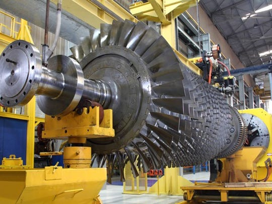 a gas turbine in a workshop