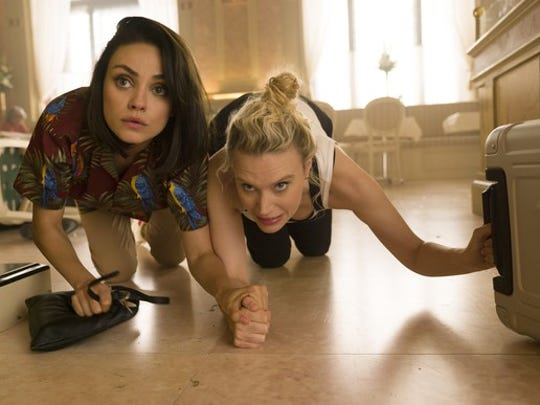 "Mila Kunis as ""Aubrey"" and Kate McKinnon as ""Morgan"" in the movie  The Spy Who Dumped Me ."