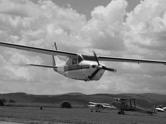 Cessna in black and white