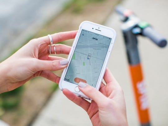 Spin's customers use a smartphone app to locate and rent scooters.
