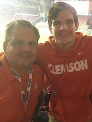 Todd and Tyler Crowe at one of many Clemson games.