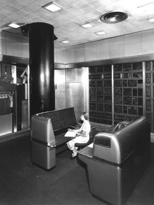 SSEC: IBM's Selective Sequence Electronic Calculator computed scientific data in public display near the company's Manhattan headquarters. Before its decommissioning in 1952, the SSEC produced the moon-position tables used for plotting the course of the 1969 Apollo flight to the moon.