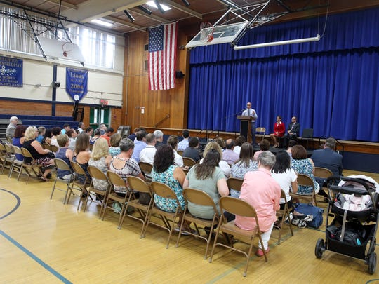 Freehold Boro's school superintendent Rocco Tomazic and Sen. Jennifer Beck make an announcement regarding the district's construction bonds at the Park Avenue Complex in Freehold Boro on Thursday August 4, 2016.
