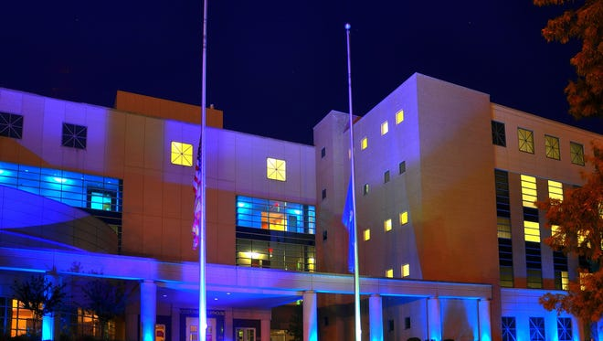 The Bossier Parish Courthouse is one of the parish's public buildings being illuminated in a show of solidarity and support with local and national law enforcement.