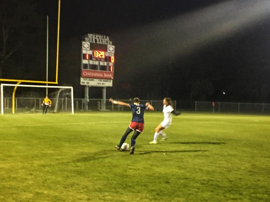 Wakulla forward Cheyenne Whittington tries to get loose against a Florida High defender during the first half of a 1-0 loss on Thursday to the Seminoles in the district final.