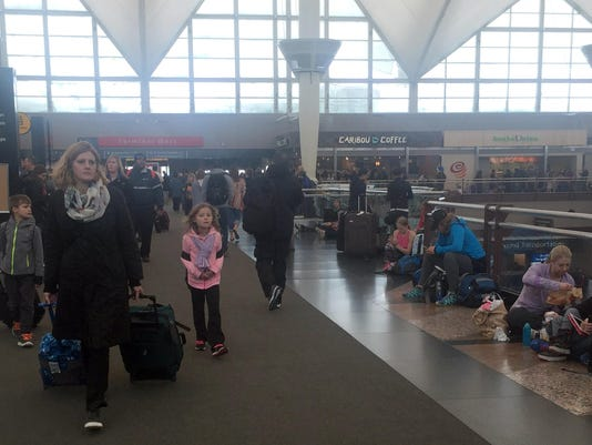 Denver International Airport stranded travellers