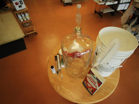 People interested in brewing beer at home can start with a basic kit that includes the items picture. Sarah Bridegroom of Homebrew Den, a shop that sells gear to home beer makers, says the equipment can fit in a person's kitchen.