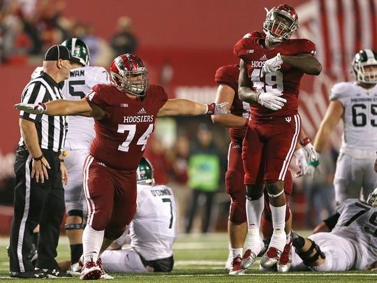 Nate Hoff (74) has been a mainstay along the Hoosiers' defensive line.