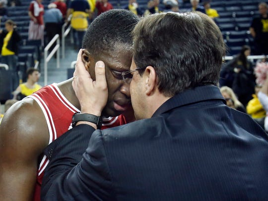 Indiana coach Tom Crean, right, celebrates with Victor