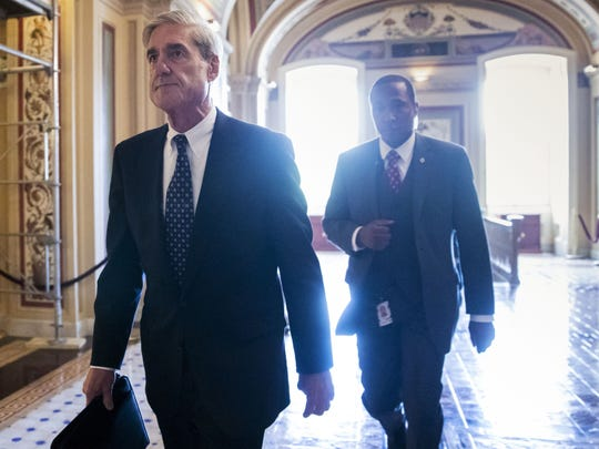 Special counsel Robert Mueller departs the Capitol after a closed-door meeting with members of the Senate Judiciary Committee about Russian meddling in the 2016 election and possible connections to the Trump campaign.