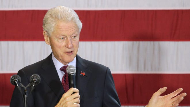 Former President Bill Clinton speaks during a campaign stop in support of Democratic presidential candidate Hillary Clinton at the Lawrence University Warch Campus Center Friday, April 1, 2016  in Appleton.