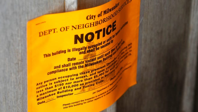 An eviction notice on the door of a trailer near S. 27th St. and W. Howard Ave. in Milwaukee.