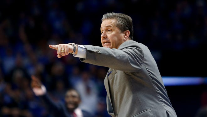 Head coach John Calipari of the Kentucky Wildcats reacts during the first half against the Alabama Crimson Tide at Rupp Arena in Lexington, KY., on February 17, 2018.