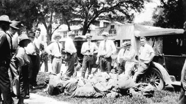 Lawmen with confiscated alcohol - Volusia County, Florida. Florida Memory.