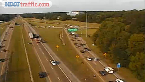 An accident has blocked all southbound lanes on Interstate 220 at Watkins Drive in Jackson.