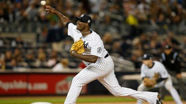New York Yankees starting pitcher Michael Pineda delivers in the sixth inning of the Yankees 5-0 shutout of the Baltimore Orioles at Yankee Stadium in New York, Monday, Sept. 22, 2014.