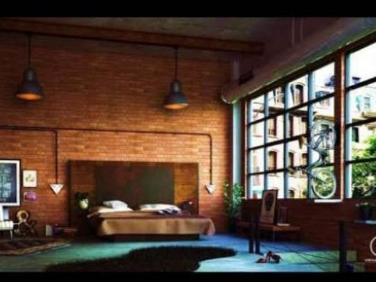 Artistic rendering of bedroom design possibility at