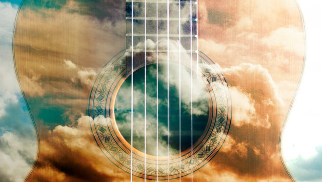 Acoustic guitar composition.Double exposure.Music concept